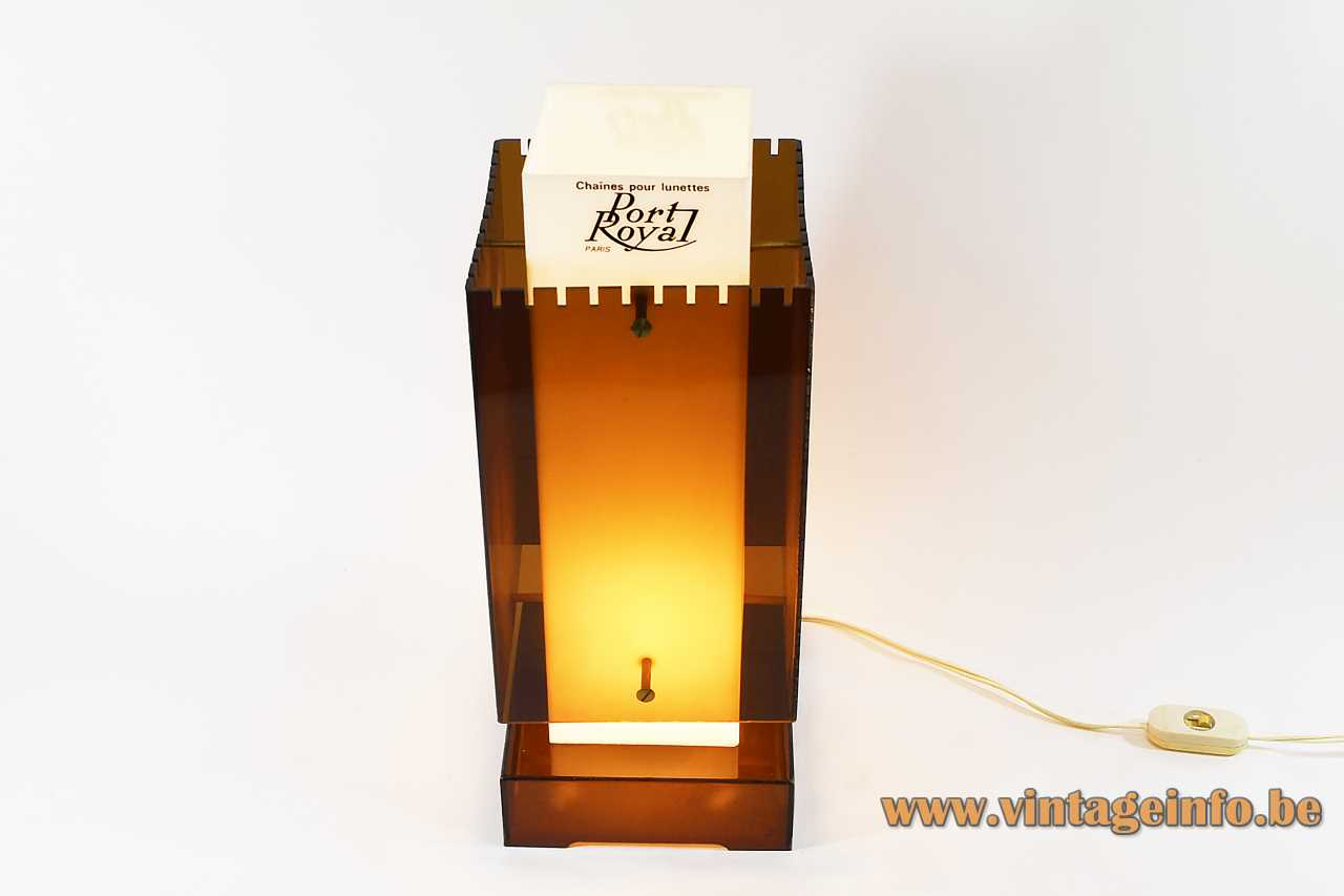 Brown & White Acrylic table lamp Perspex square base beam lampshade B22 lamps socket publicity light