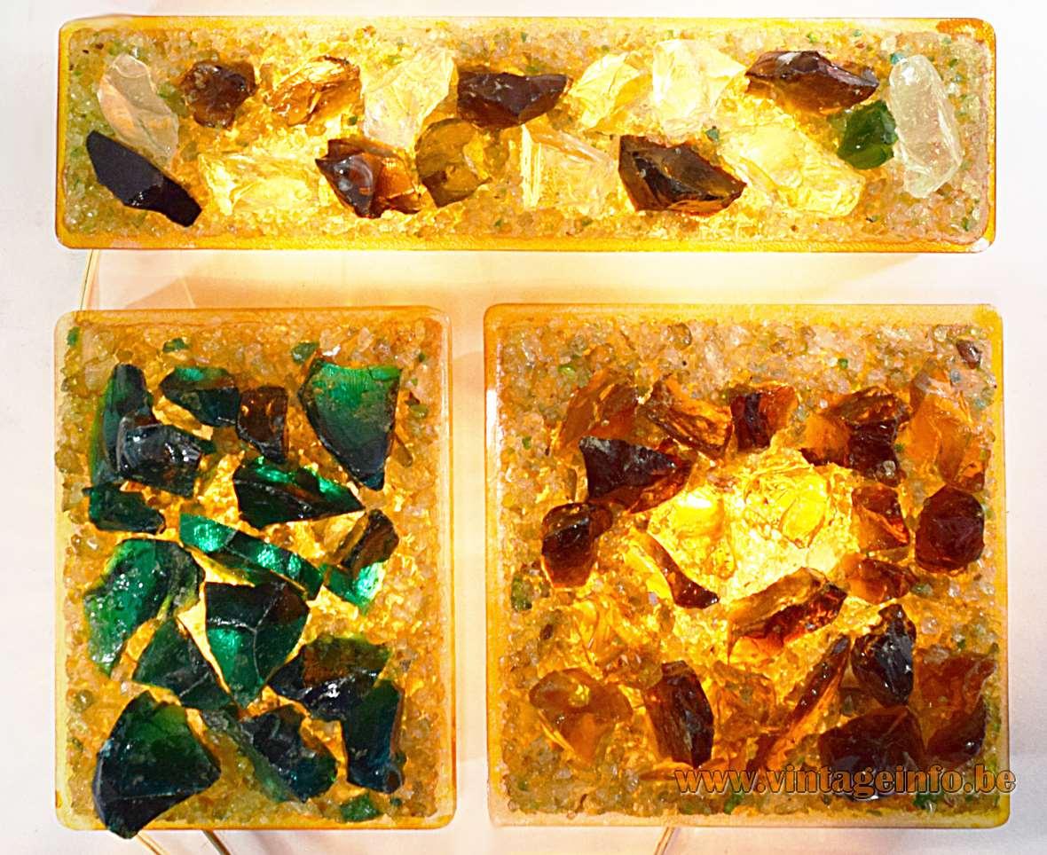 Brutalist glass fragments wall lamp yellow green broken glass blocks Raak Chartres 1960s 1970s Massive Belgium