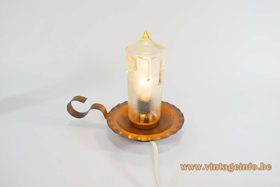 Copper candle bedside table lamp dripping faux yellowish glass candlestick metal dish & handle 1970s E14 socket