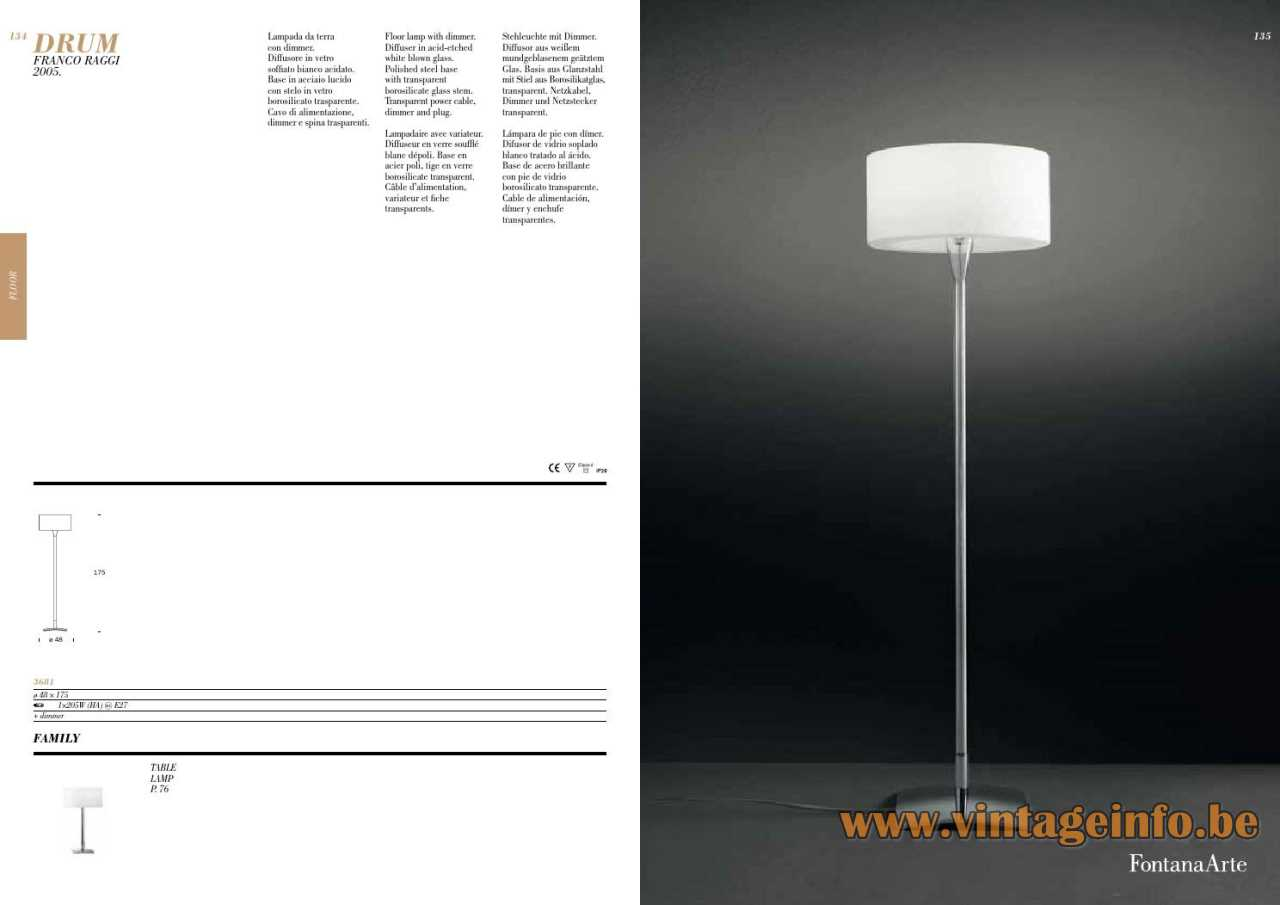 FontanaArte Drum Floor Lamp - Catalogue Picture