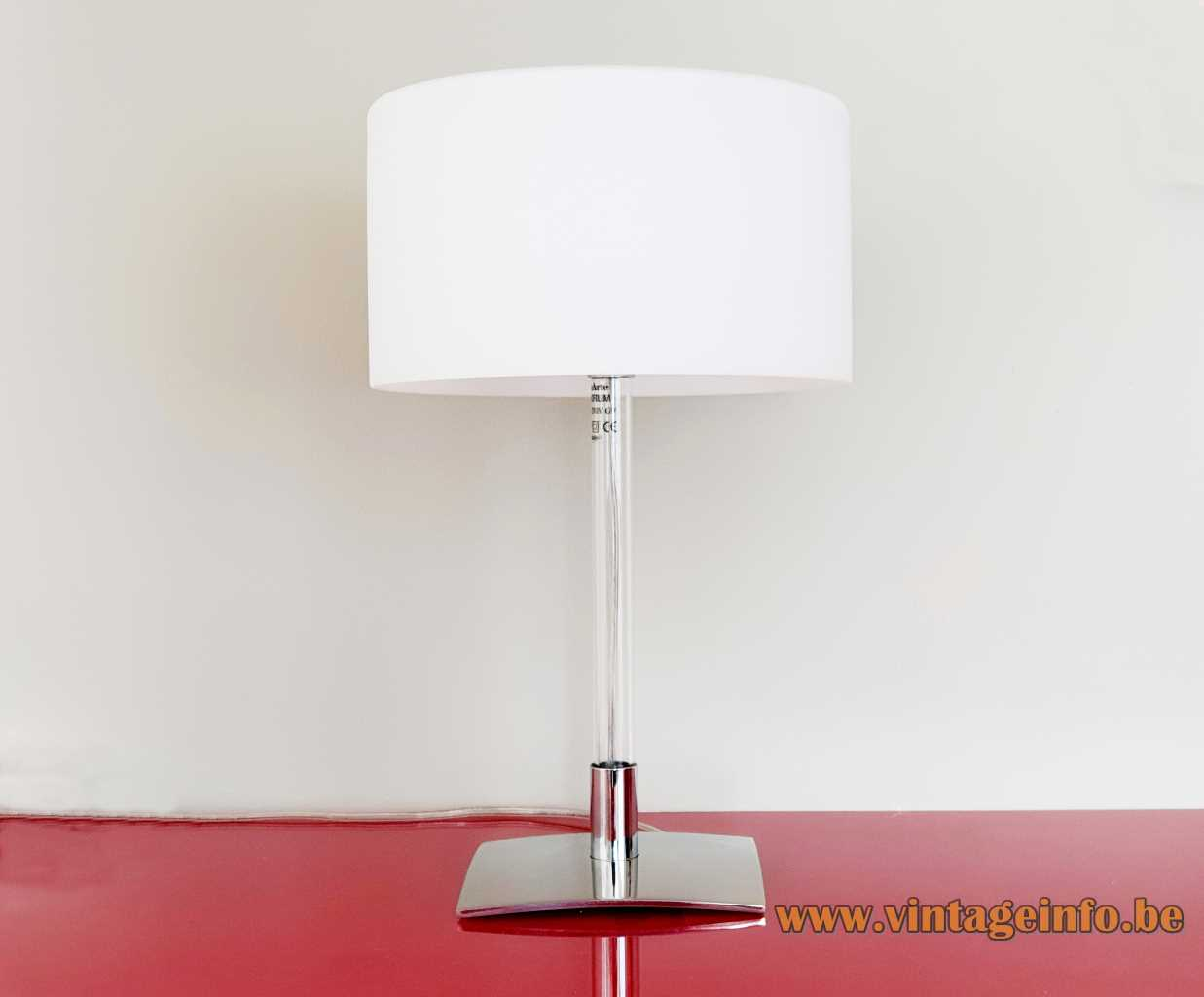 FontanaArte Drum table lamp 2005 design: Franco Raggi steel base glass rod opal glass lampshade Italy