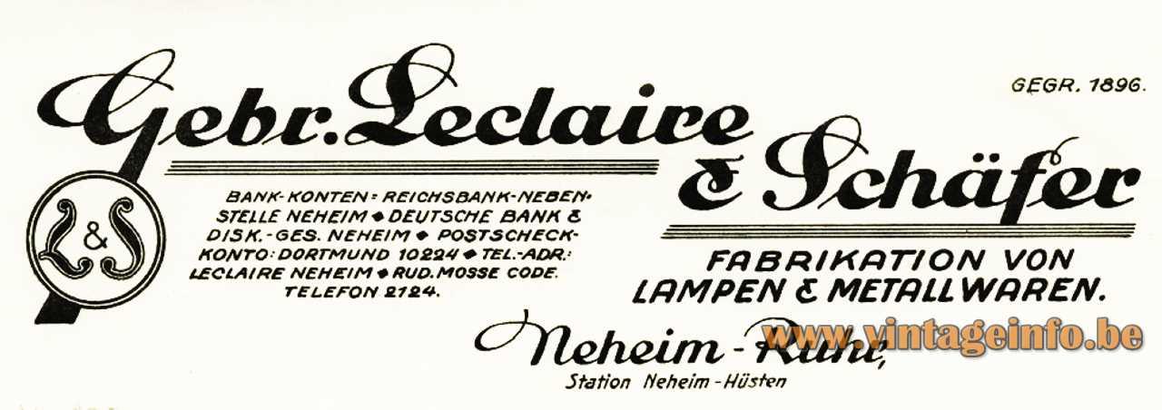 Gebrüder Leclaire & Schäfer,Neheim, Germany