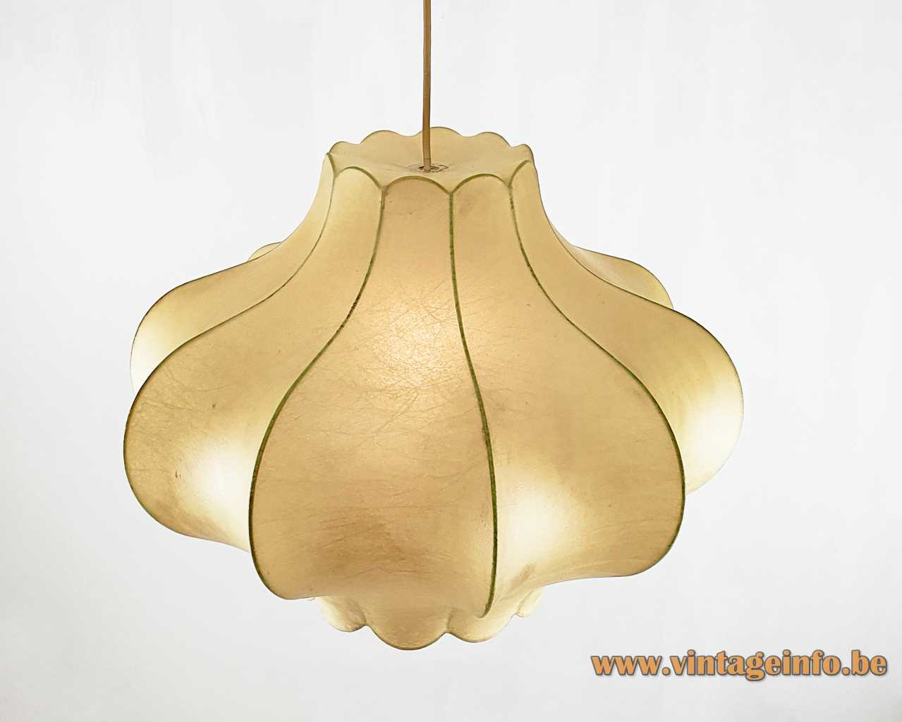 Goldkant Leuchten Cocoon onion pendant lamp sprayed plastic wire frame pig's bladder 1960s 1970s Germany
