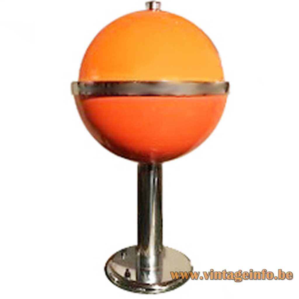 Guzzini style globe table lamp orange acrylic and chrome by Massive Belgium