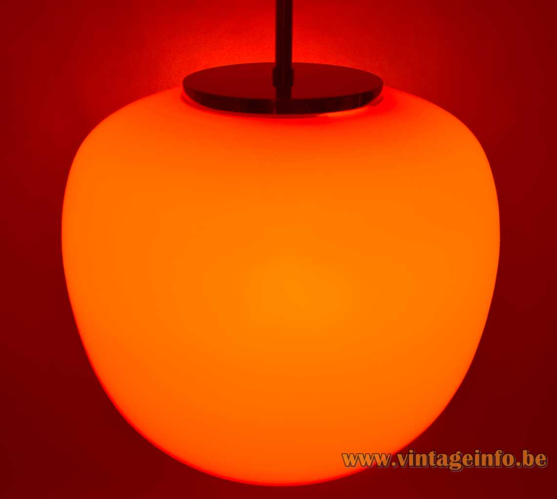 Hustadt-Leuchten glass pendant lamp orange red globe apple shape chrome parts 1960s 1970s vintage Germany
