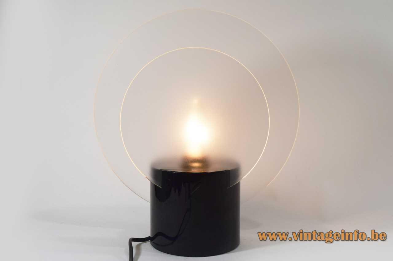Krizia discs table lamp round black base 2 frosted acrylic discs E14 socket 1980s 1990s Italy