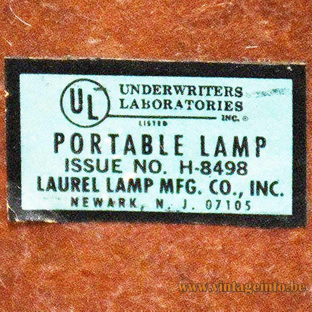 Laurel Lamp Mfg Co Inc label