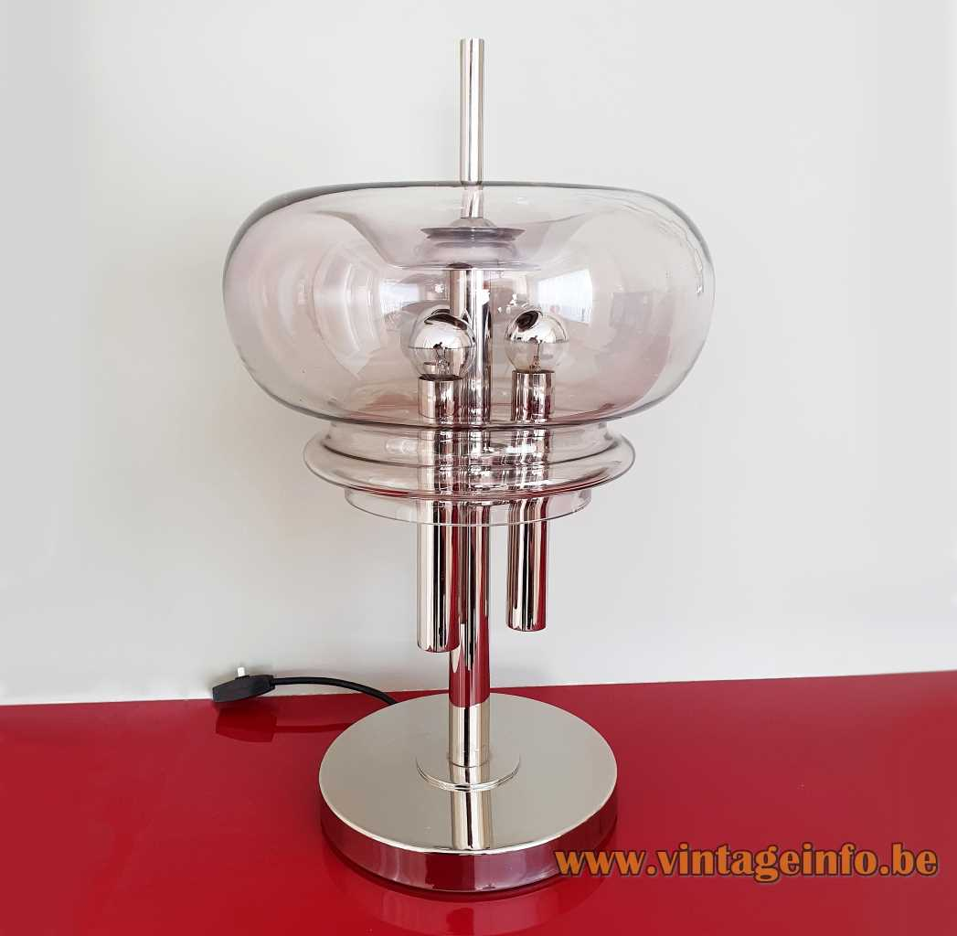 Leclaire & Schäfer table lamp chrome base & tubes smoked glass mushroom lampshade 1960s 1970s Germany E14 sockets