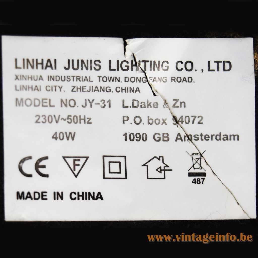 Linhai Junis Lighting Co. LTD label