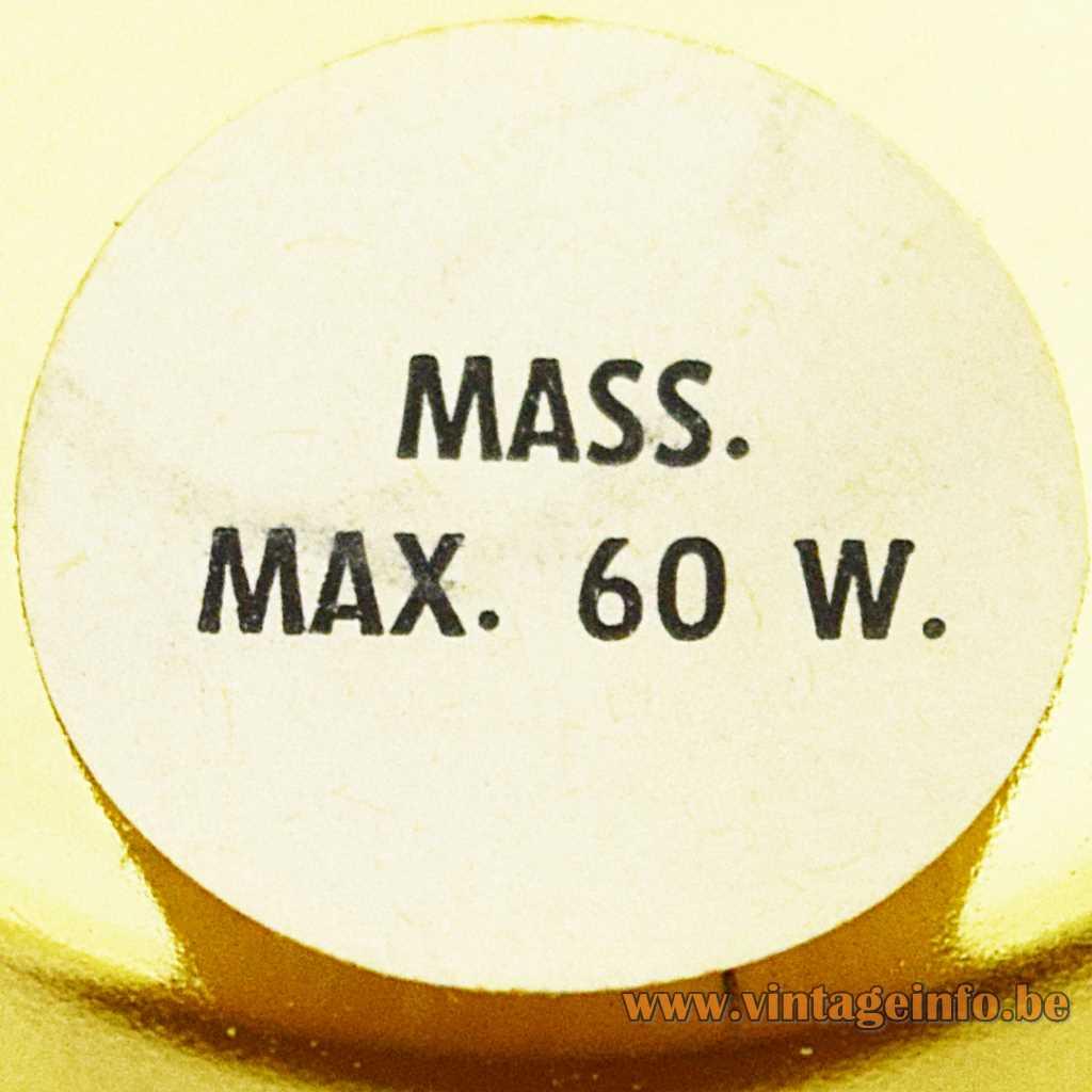 Massive label Mass. Max. 60 W.