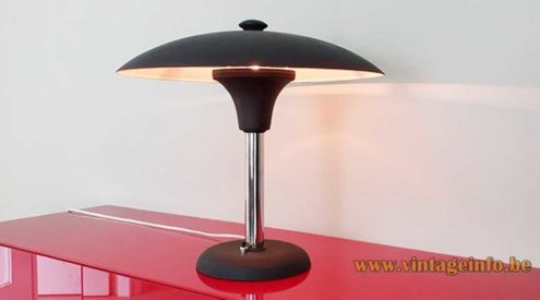Max Schumacher desk lamp 1934 design black mushroom lampshade Werner Schröder Bauhaus 1930s 1940s Germany