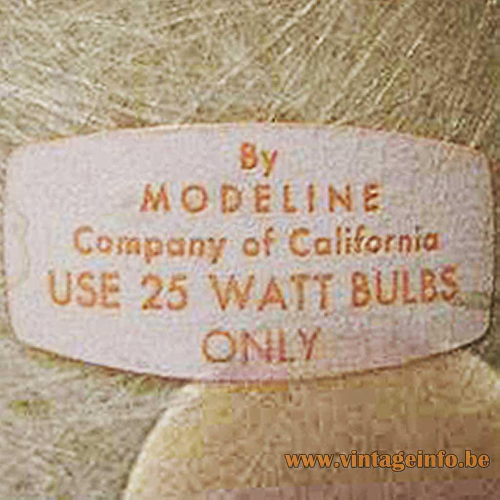 Modeline Co Of California label