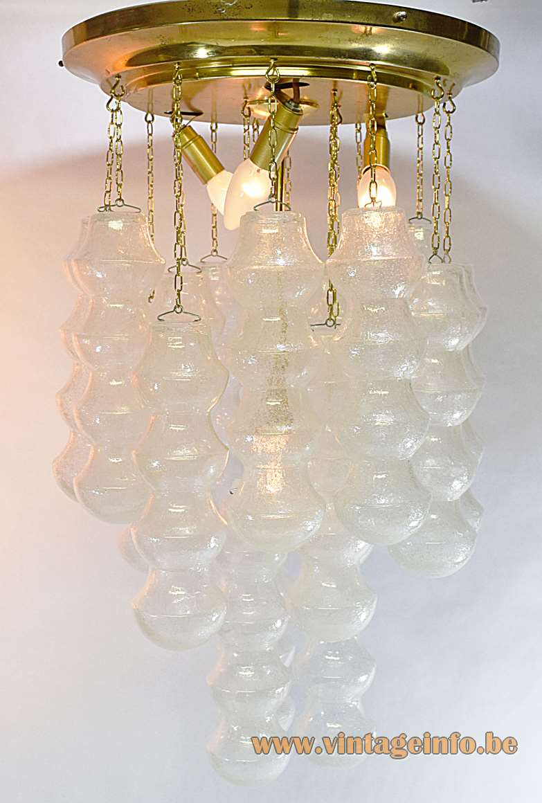 Murano bubble glass flush mount ceiling lamp brass chains 18 hand blown parts 1960s 1970s Italy