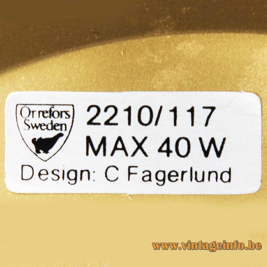 Orrefors Sweden lamp label