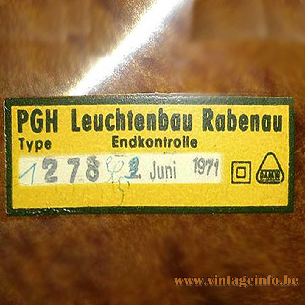 PGH Leuchtenbau Rabenau label
