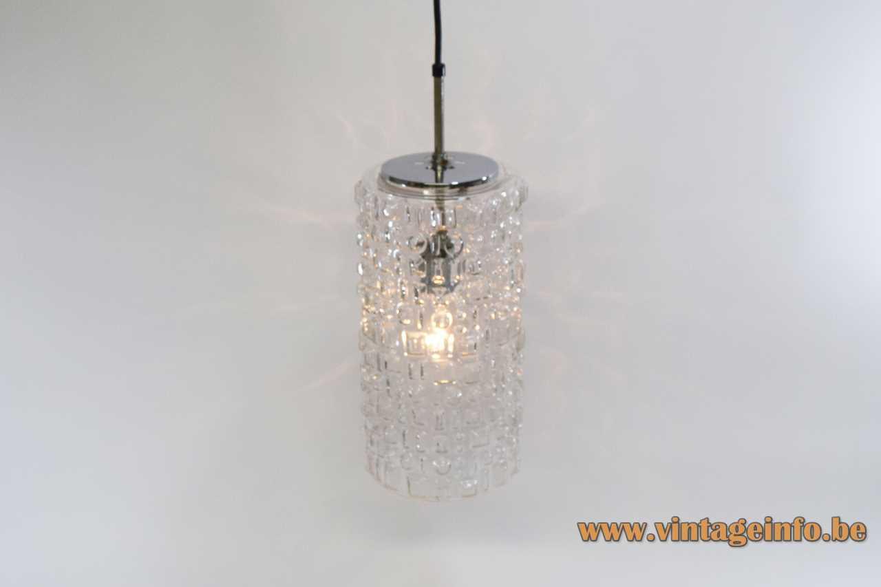 Peill + Putzler Sevilla pendant lamp clear embossed glass tubular lampshade chrome 1960s design E27 socket Germany