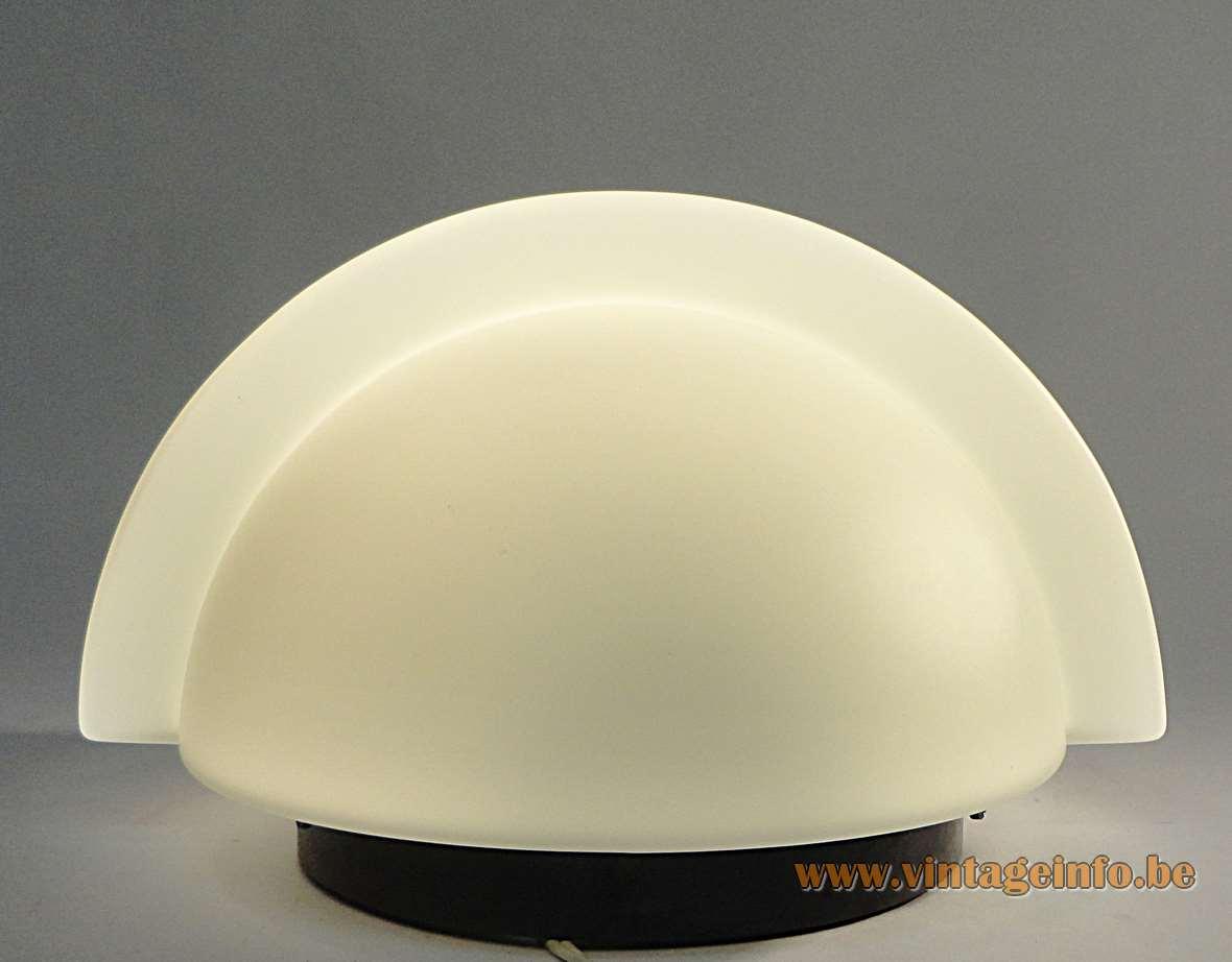 Raak wall lamp model P-1412 W-1890 round white opal glass black Bakelite wall mount 1970s vintage