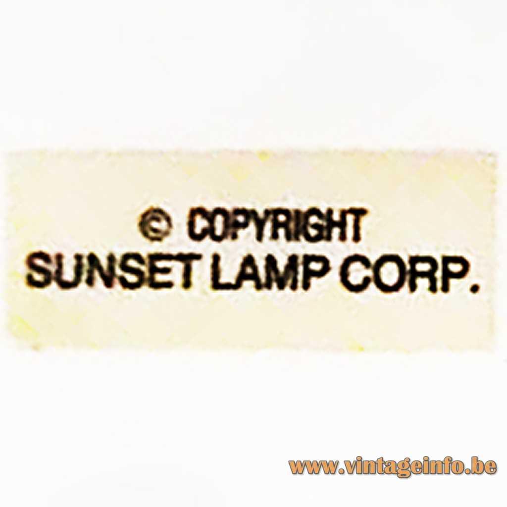 Sunset Lamp Corp. Label