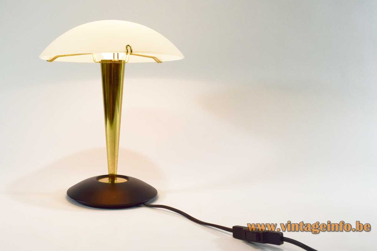Tre Ci Luce Nube table lamp black metal brass frosted glass lampshade 1980s Design: Luciano Cesaro