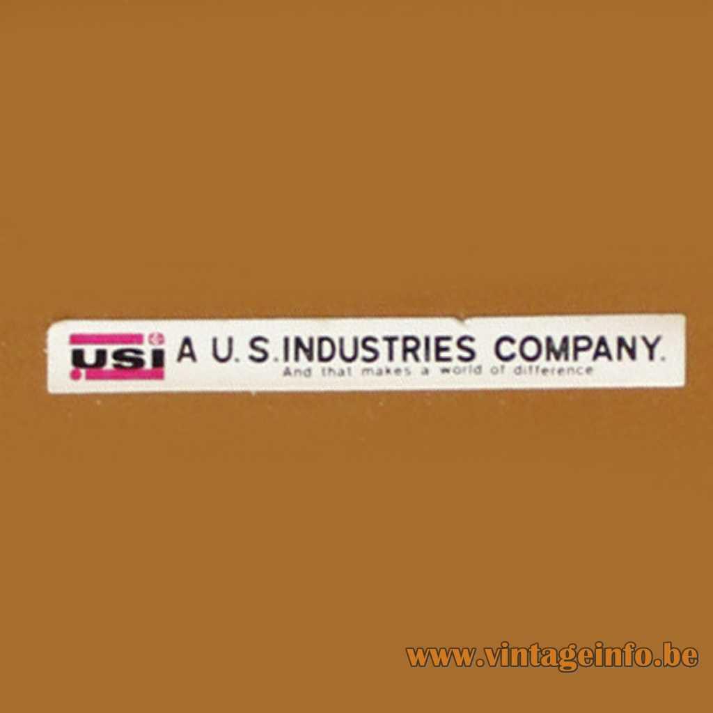 USI - US Industries company lamp label