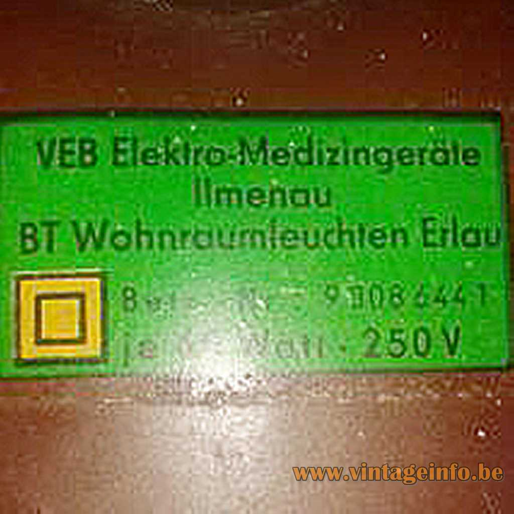 VEB Elektro-Medizingeräte Ilmenau BT Whonraumleuchten Erlau label