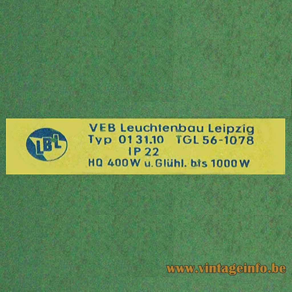 VEB Leuchtebau Leipzig LBL label