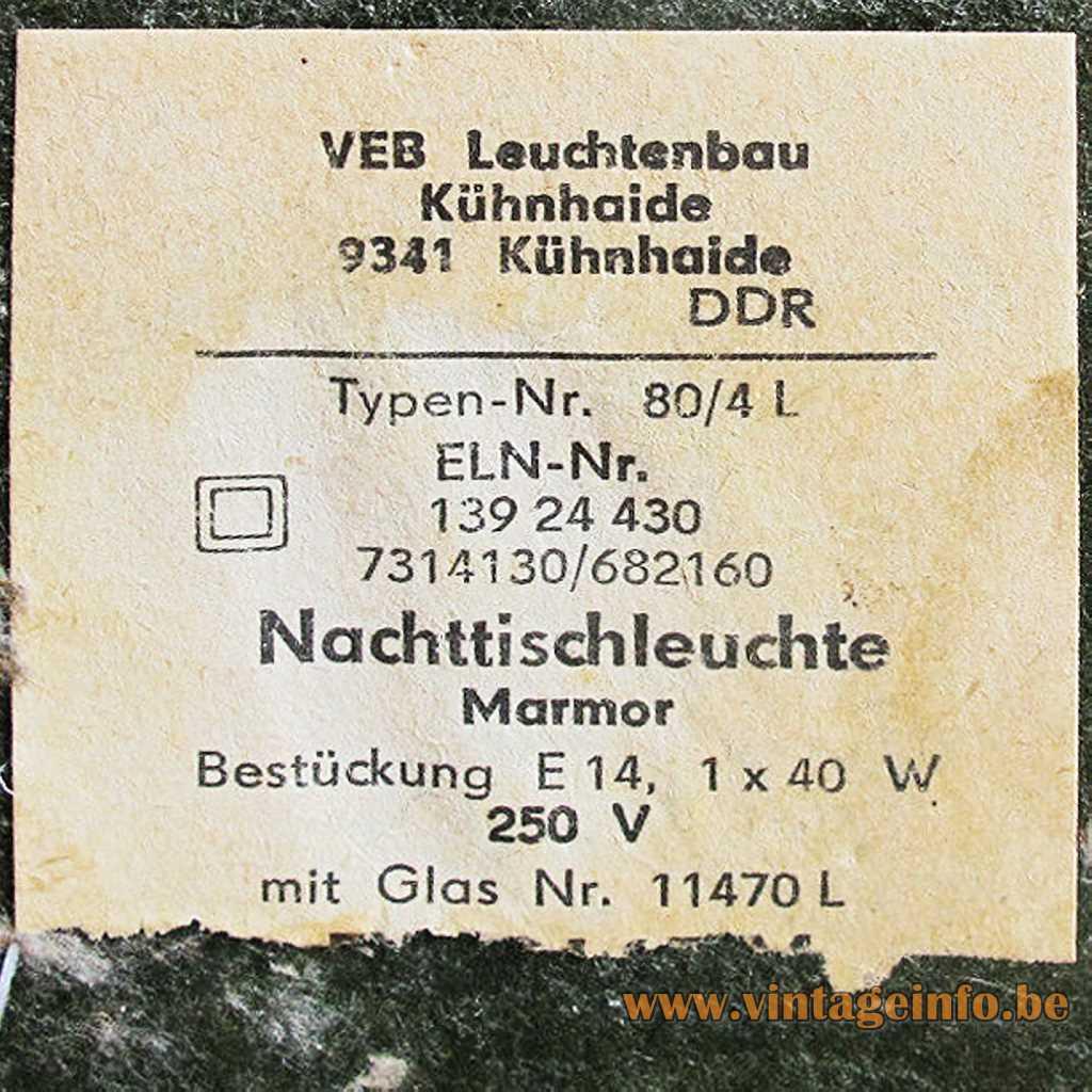 VEB Leuchtenbau Kühnhaide DDR