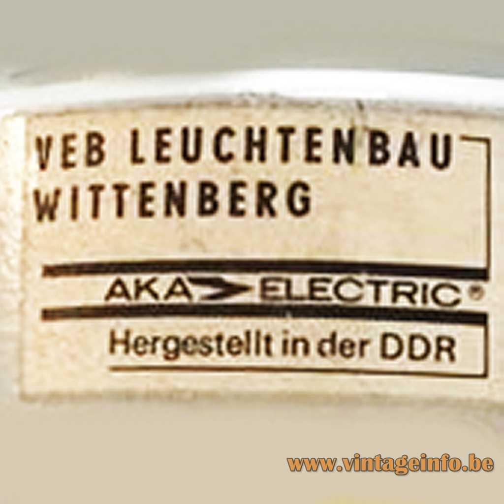 VEB Leuchtenbau Wittenberg - AKA Electric label