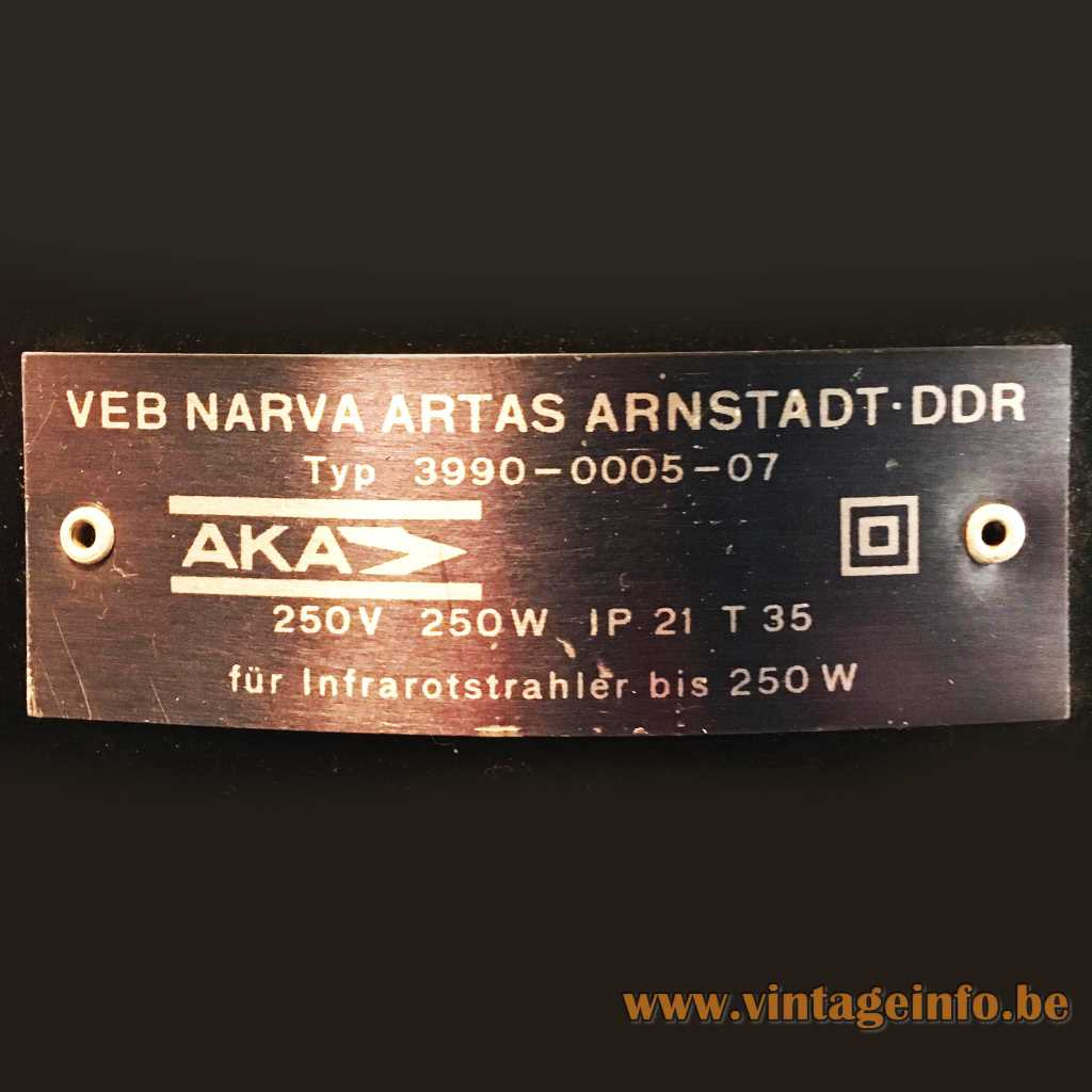 VEB NARVA Artas Arnstadt DDR label