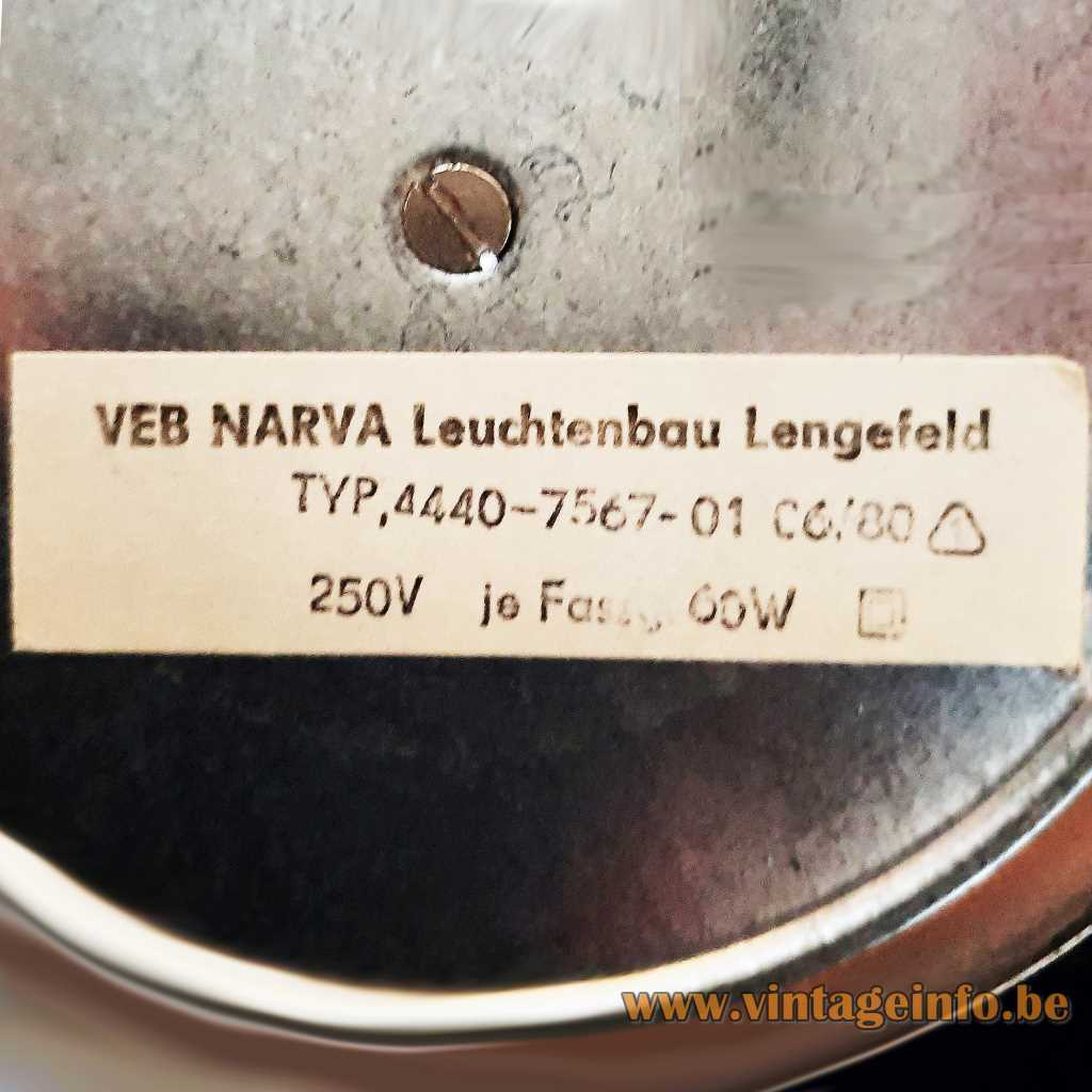 VEB NARVA Leuchtenbay Lengefeld label