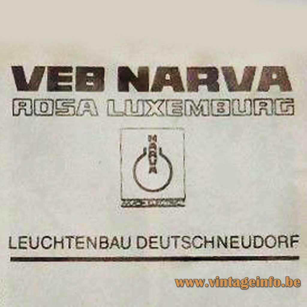 VEB NARVA Rosa Luxemburg Leuchtenbau Deutschneudorf logo