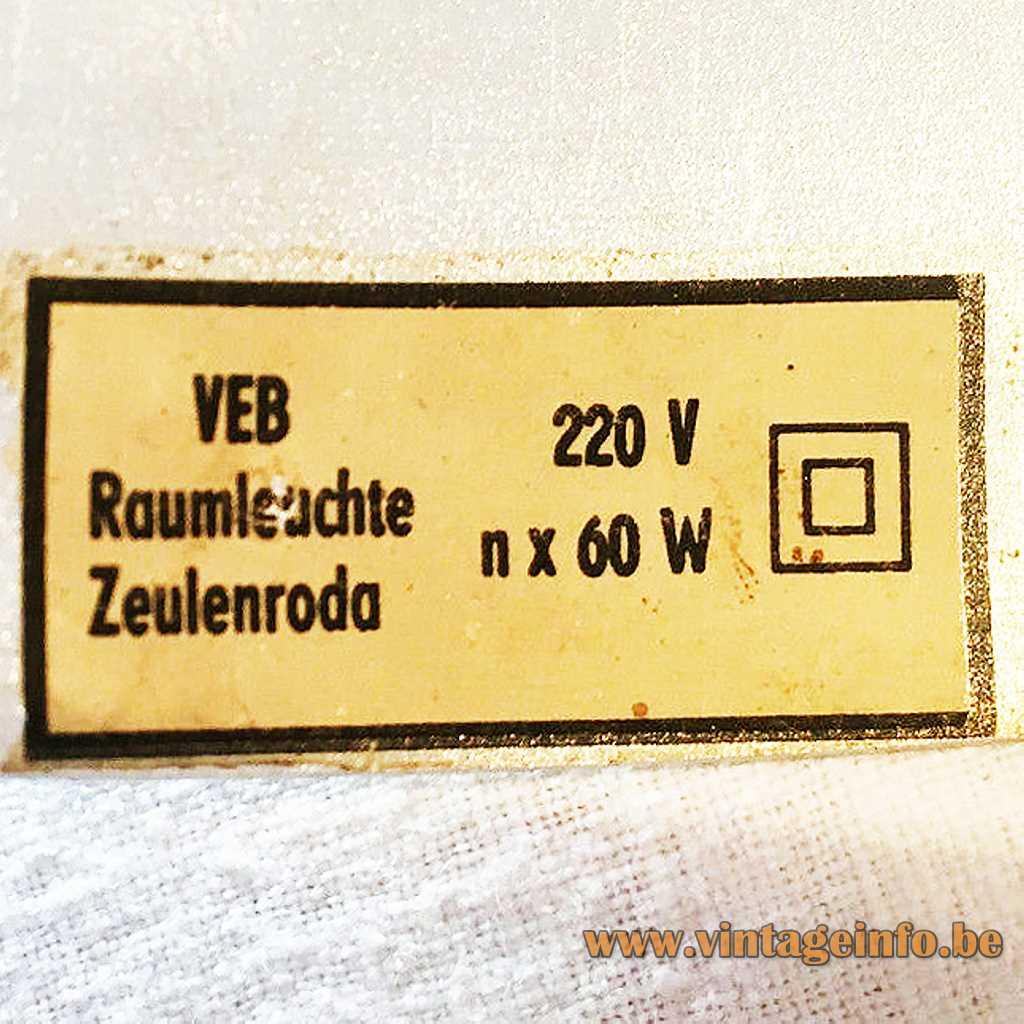 VEB Raumleuchte Zeulenroda label