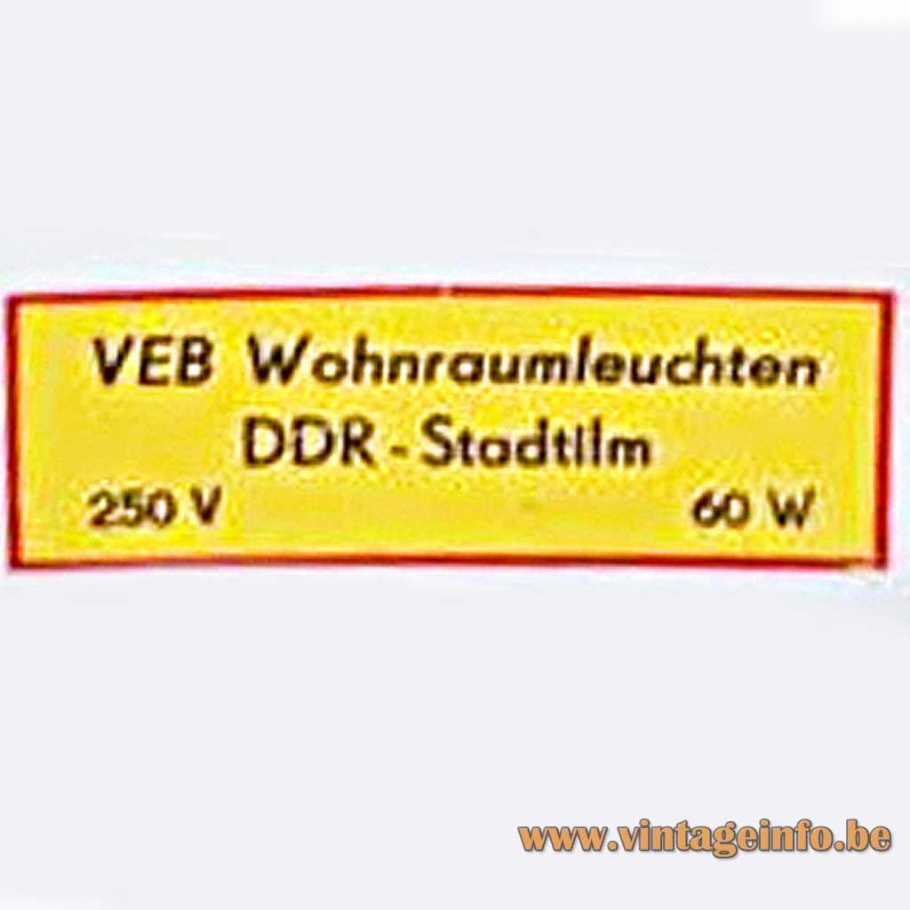 VEB Wohnraumleuchten DDR Stadtilm label