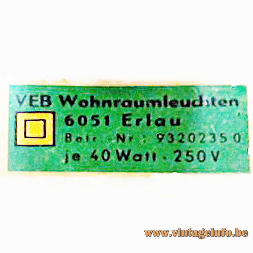 VEB Wohnraumleuchten Erlau label