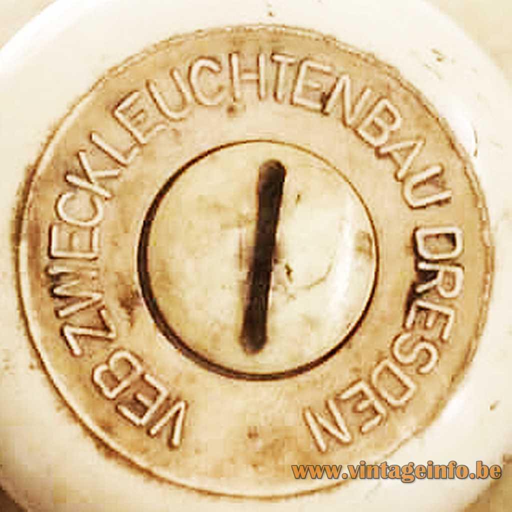 VEB Zweckleuchtenbau Dresden pressed label