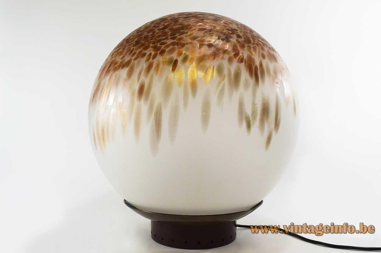 VeArt globe table lamp 1975 design: Giorgio de Ferrari opal Murano glass brown & gold spots Italy