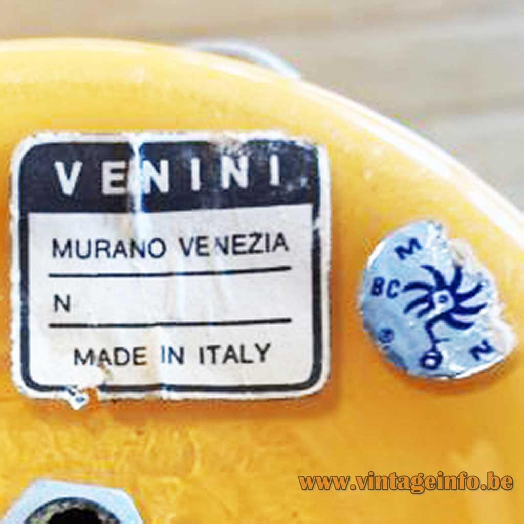 Venini + Murano label
