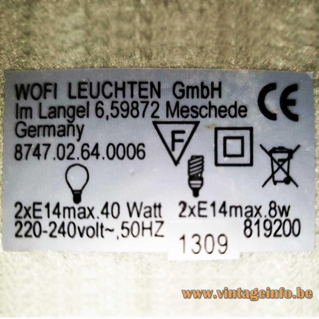WOFI Leuchten label