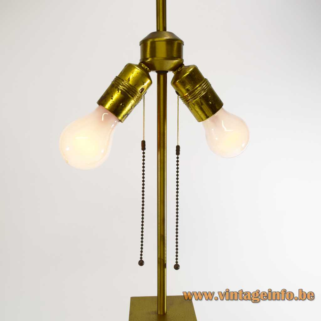 Belgo Chrom brass & chrome table lamp geometric metal skyscraper style pull cord switch 1970s 1980s
