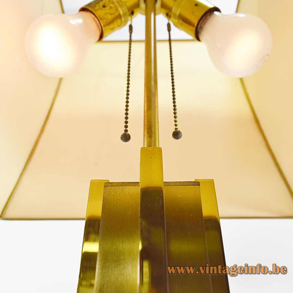 Belgo Chrom brass table lamp in a sculptural geometric skyscraper style with 2 E27 sockets 1960s 1970s