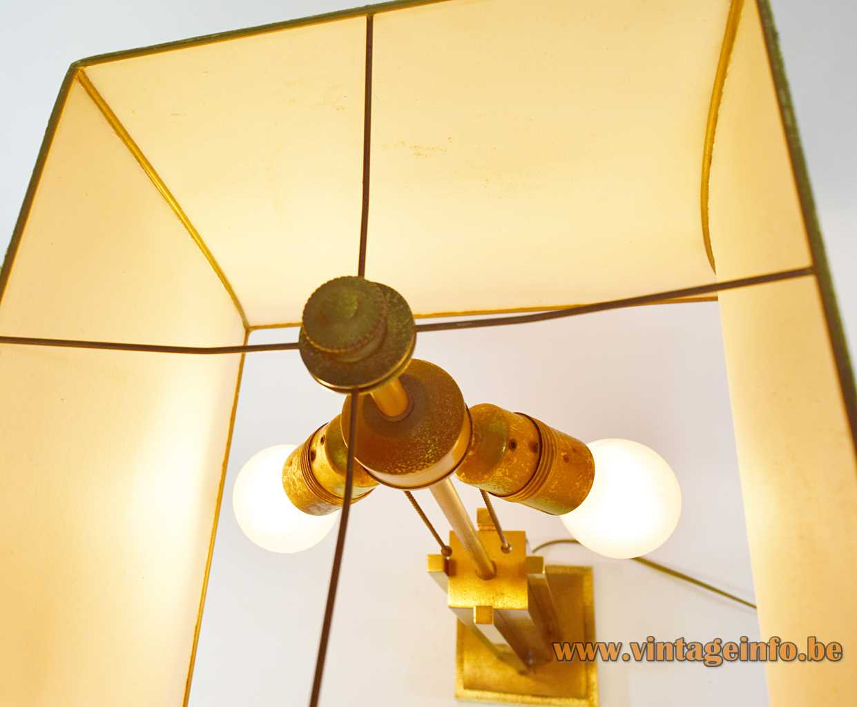 Belgo Chrom brass table lamp sculptural geometric skyscraper base pagoda lampshade 2 E27 sockets 1960s 1970s