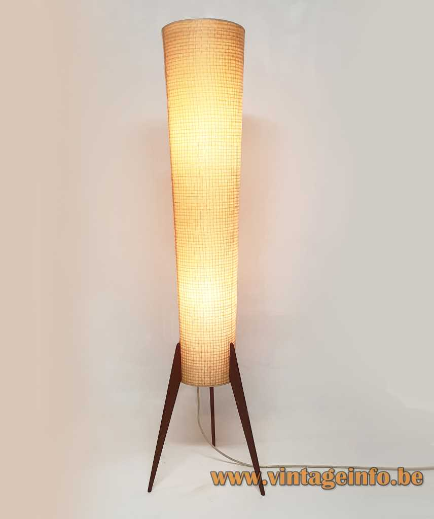 Conical tripod rocket floor lamp 3 teak legs fabric tube wood switch on top 1950s 1960s