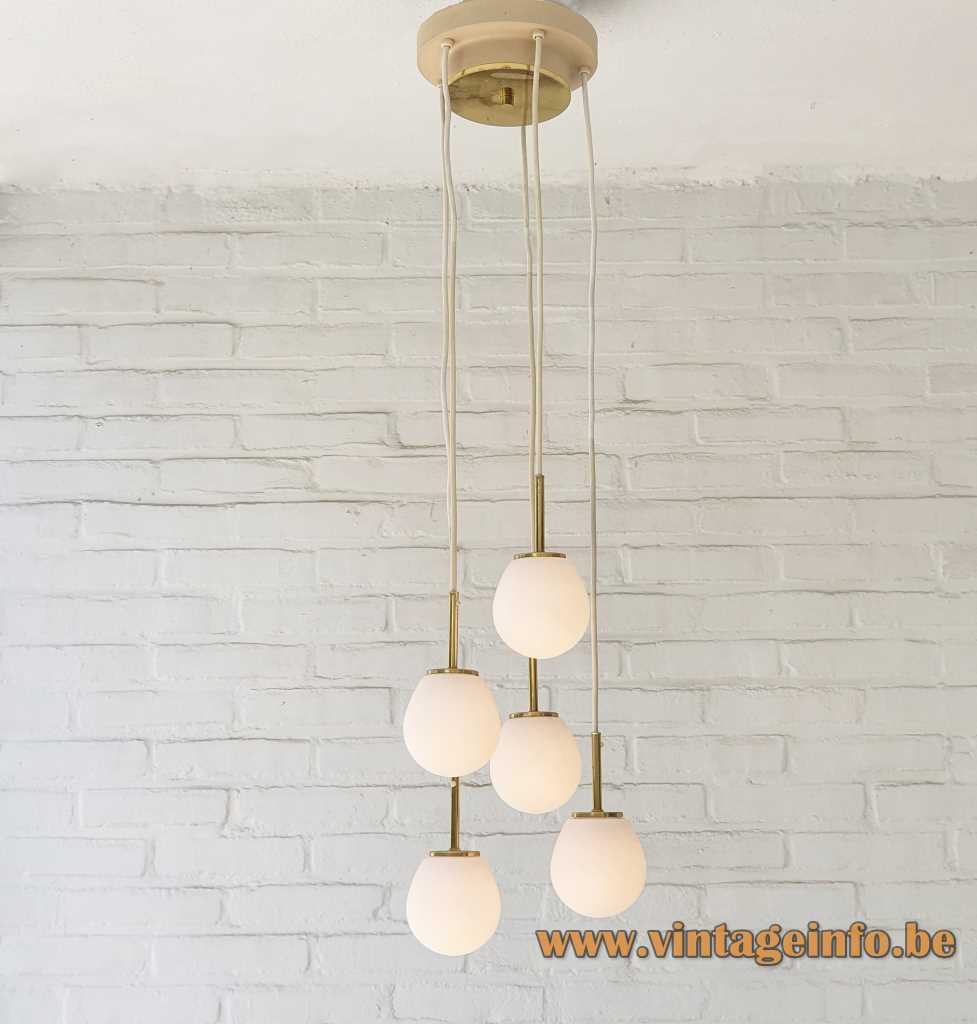 DORIA opal globes cascading chandelier 5 white glass spheres brass rods 1960s 1970s Doria Leuchten Germany