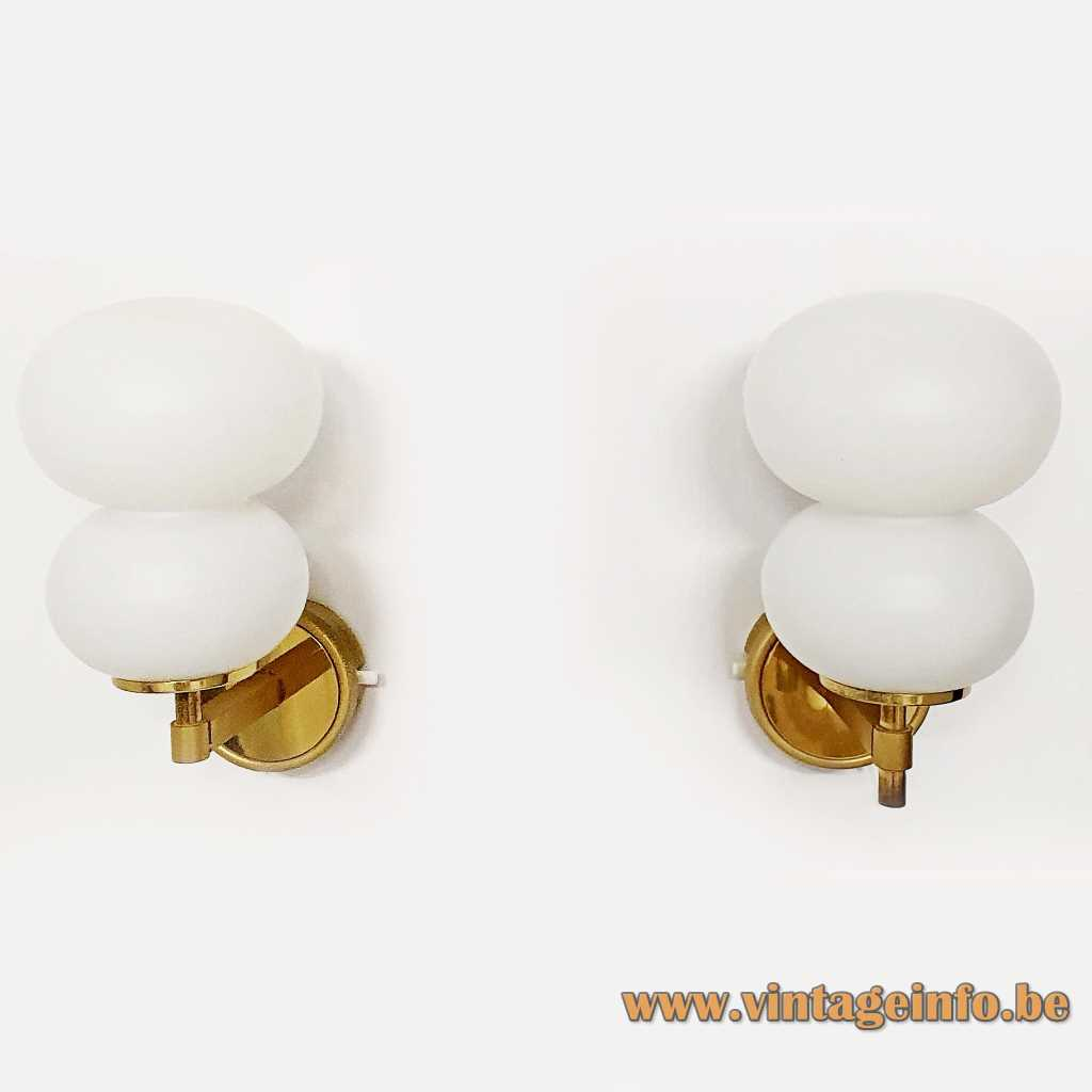 DORIA pumpkin wall lamps white opal glass lampshades brass wall mount & rod 1960s 1970s Germany