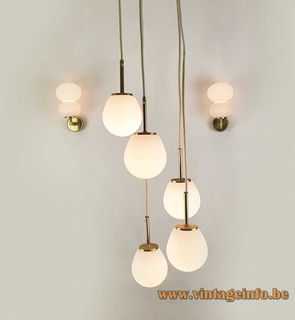 DORIA pumpkin wall lamps white opal glass lampshades & chandelier 1960s 1970s Germany E14 sockets