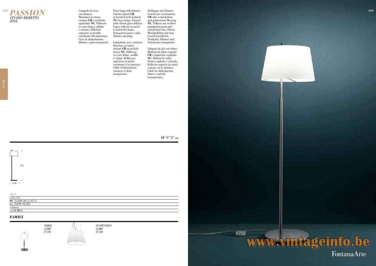 FontanaArte Passion foor lamp 2004 design: Studio Beretta Associati 2014 catalogue