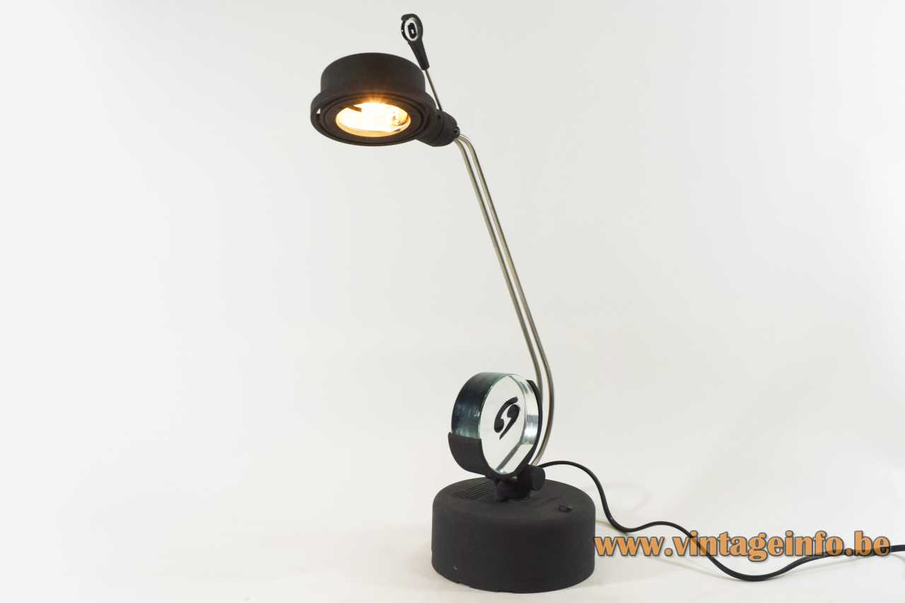 La Murrina Zodiaco desk lamp black plastic base & lampshade chrome rods Murano glass disc 1980s 1990s