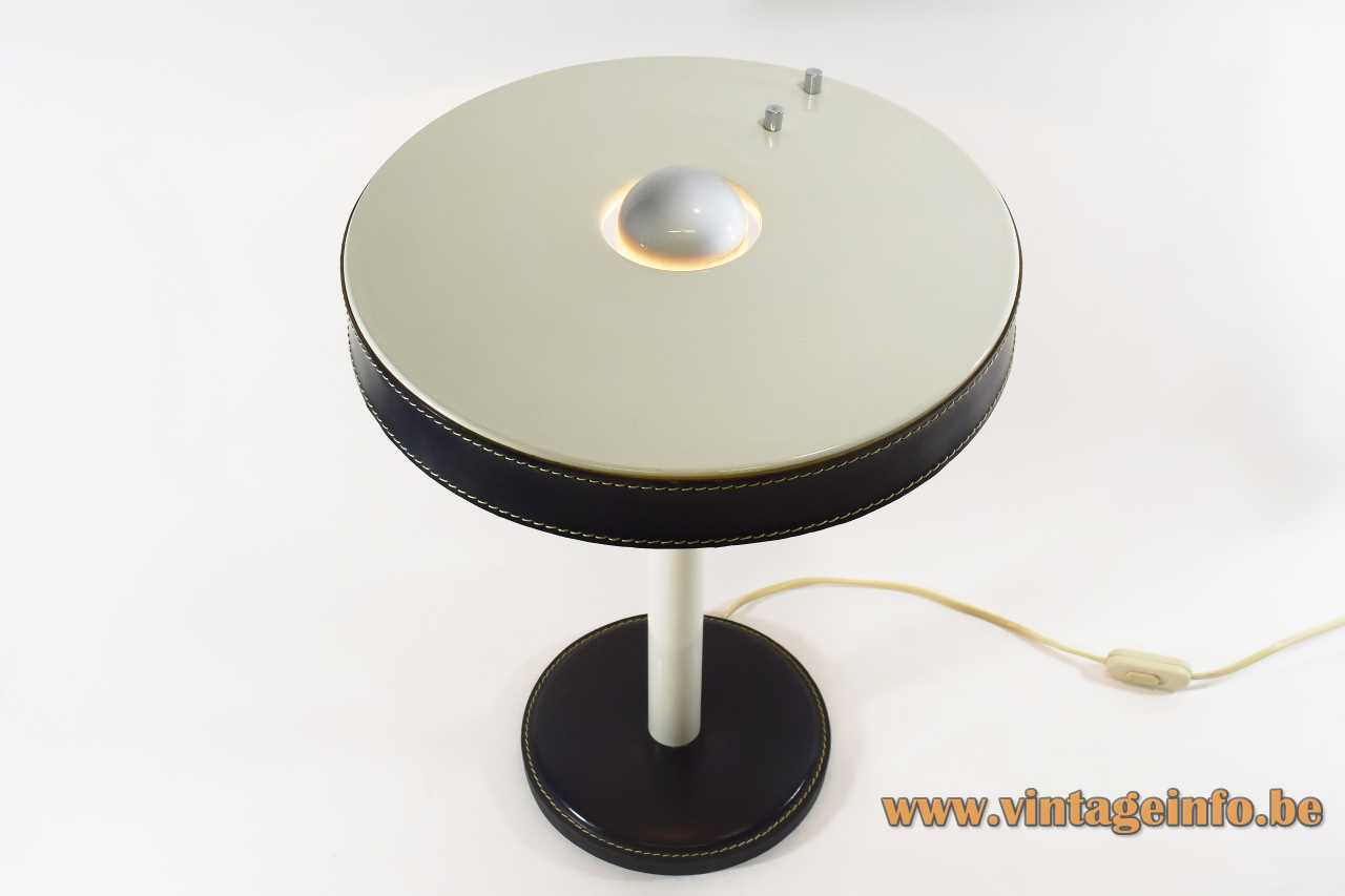 Leather Philips desk lamp round base & lampshade white metal rod black leather Jacques Adnet design 1970s 1980s