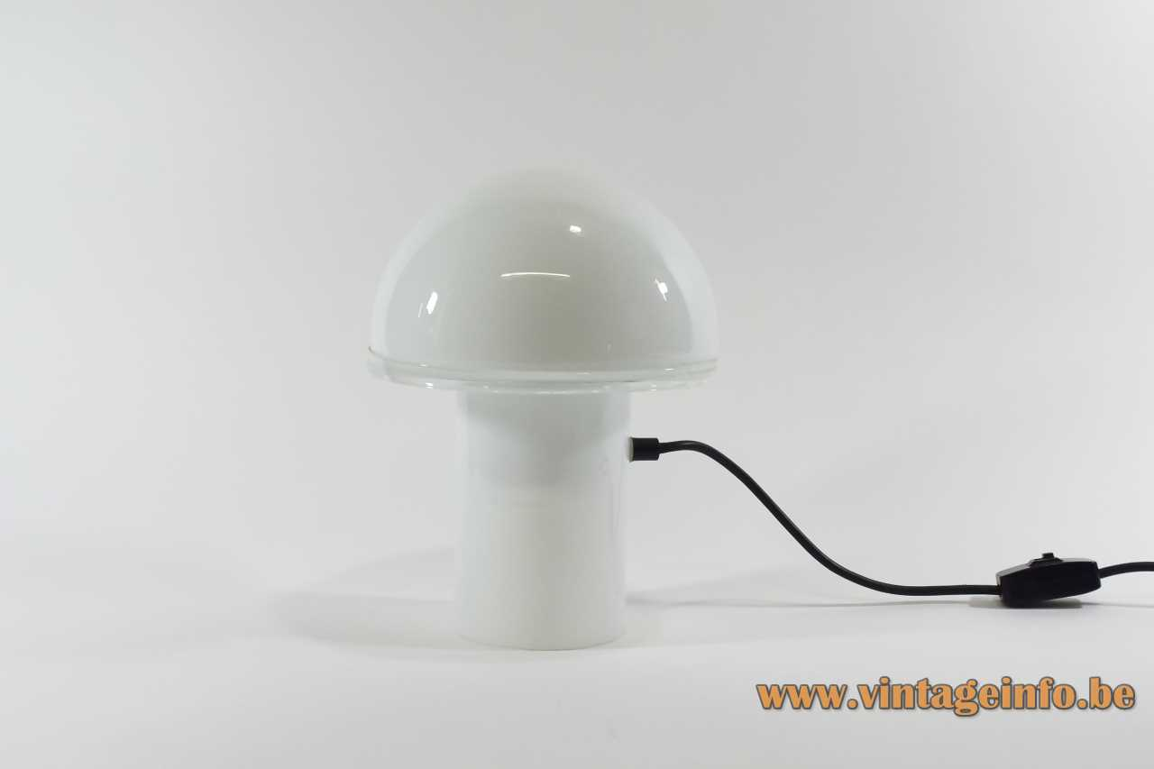 Luciano Vistosi Onfale table lamp 1978 design white mushroom Murano glass clear ring Artemide Italy 1970s