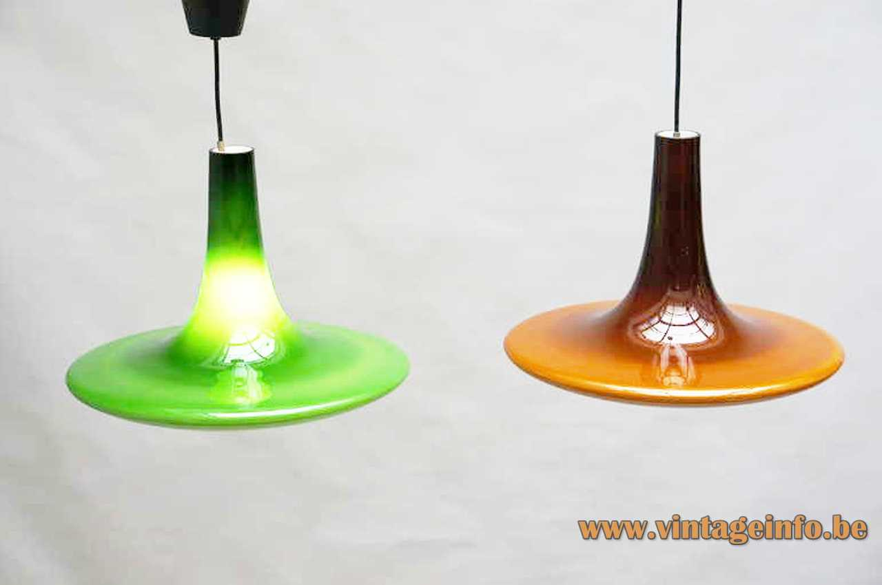 Peill + Putzler AH12 pendant lamp big brown hand blown conical glass disc UFO lampshade 1970s Germany